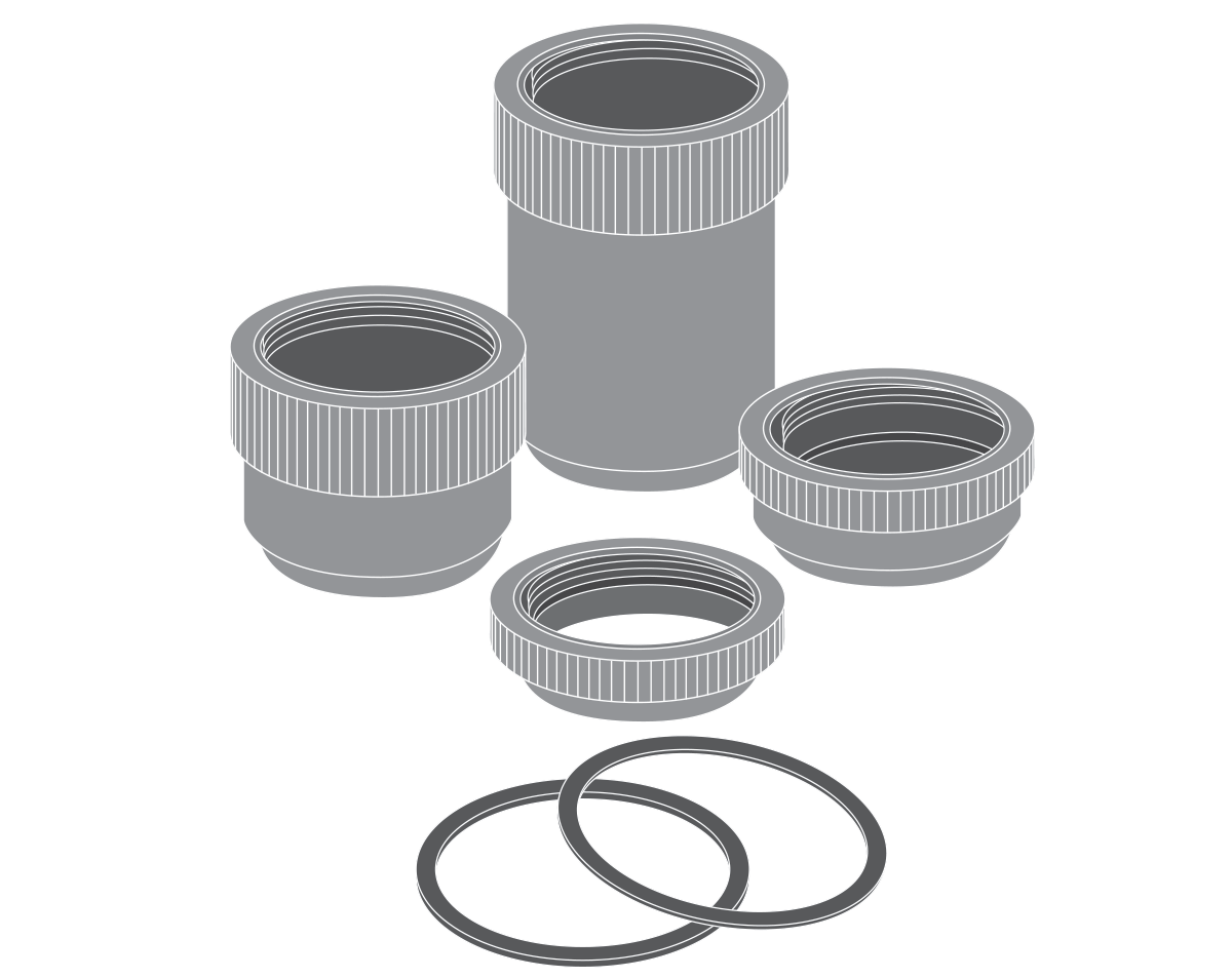 Extension tubes for fixed focal length lenses.