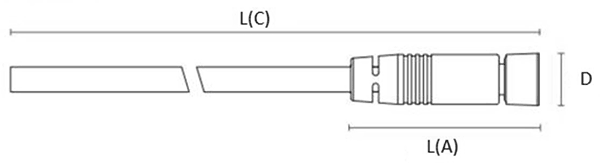 Illumination cable , side 1 industrial circular connector straight, side 2 cable end - 5 m - I/O signals