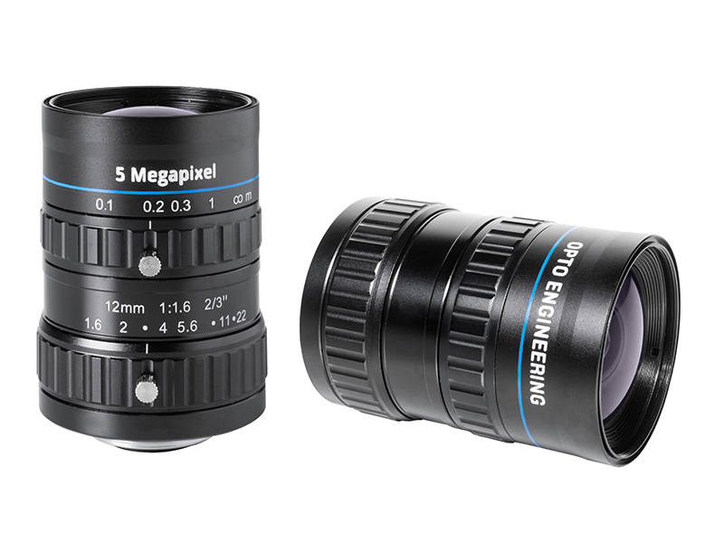 Fixed focal 5 Megapixel lens, focal length 12 mm, f# 1.6 - 22, C-mount