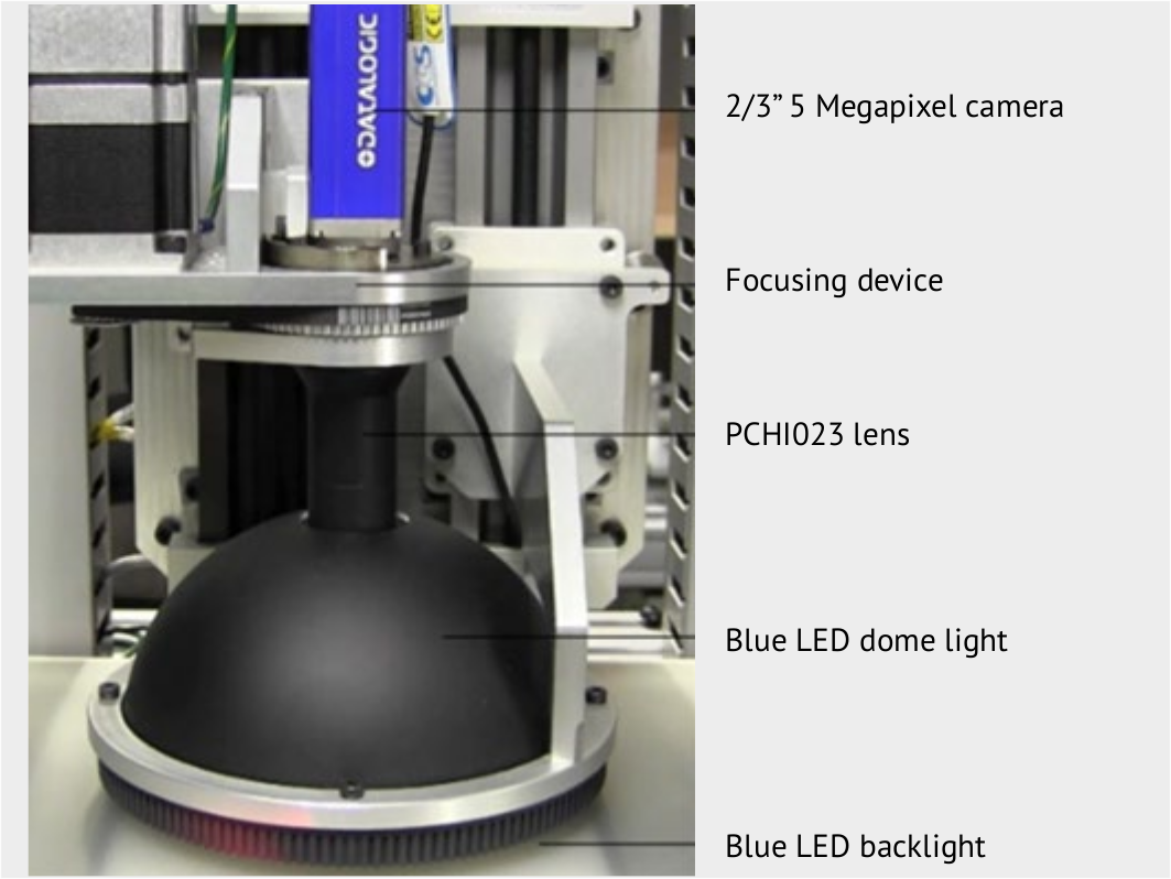 Inner surface inspection station, system set-up. PCHI023 lens is used in combination with a 5MP camera and blue dome and backlight to check the for defects on the inner surface of engine rings.