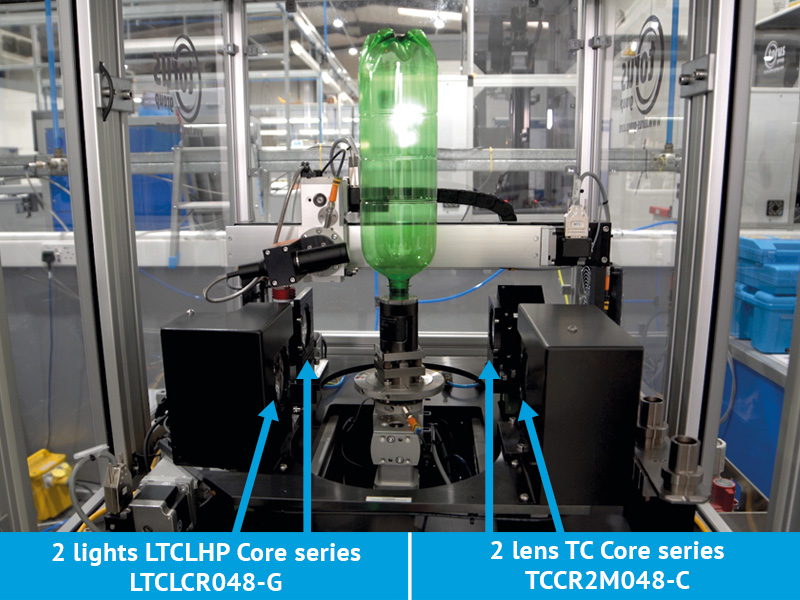"""Images of the final machine integrating two TCCR2M048-C (Telecentric CORE lens for 1"""" detectors, magnification 0.268 x, C-mount), two LTCLCR048-G (Telecentric CORE illuminator, beam dimensions Ø = 56 mm; x = 50, green) and two area scan cameras."""