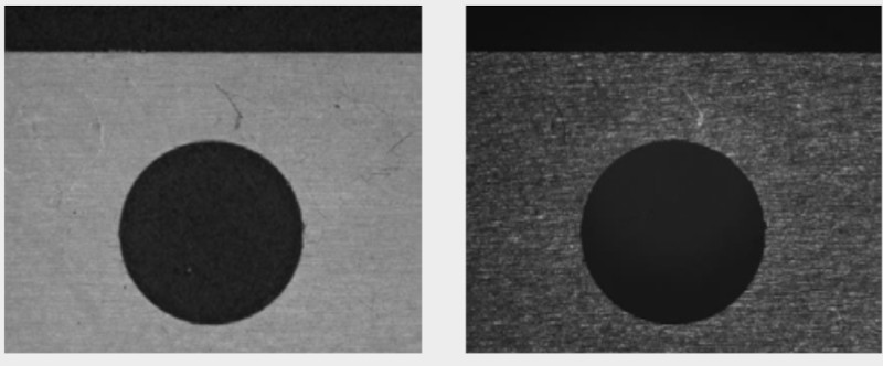 Ring light (left) vs coaxial light (right) on a flat sample.