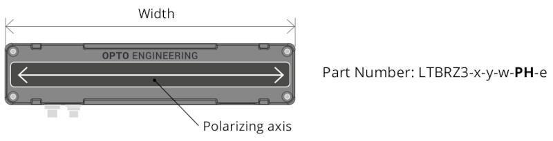 with vertical linear polarizer. Polarizing axis parallel to the active area height.