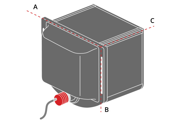 A, B an C indicate the mechanical