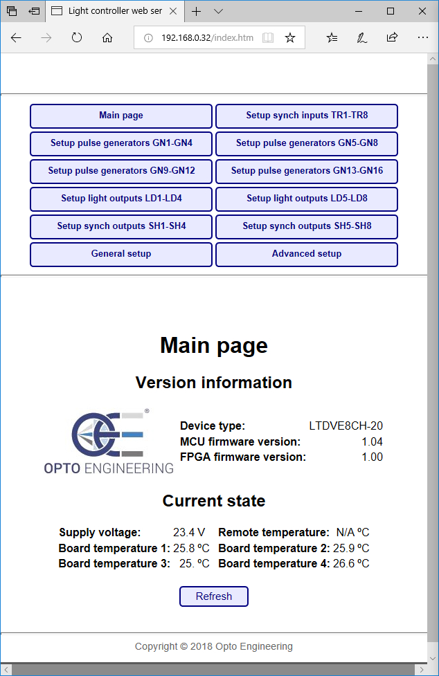 Main page of LTDVE configuration software via browser