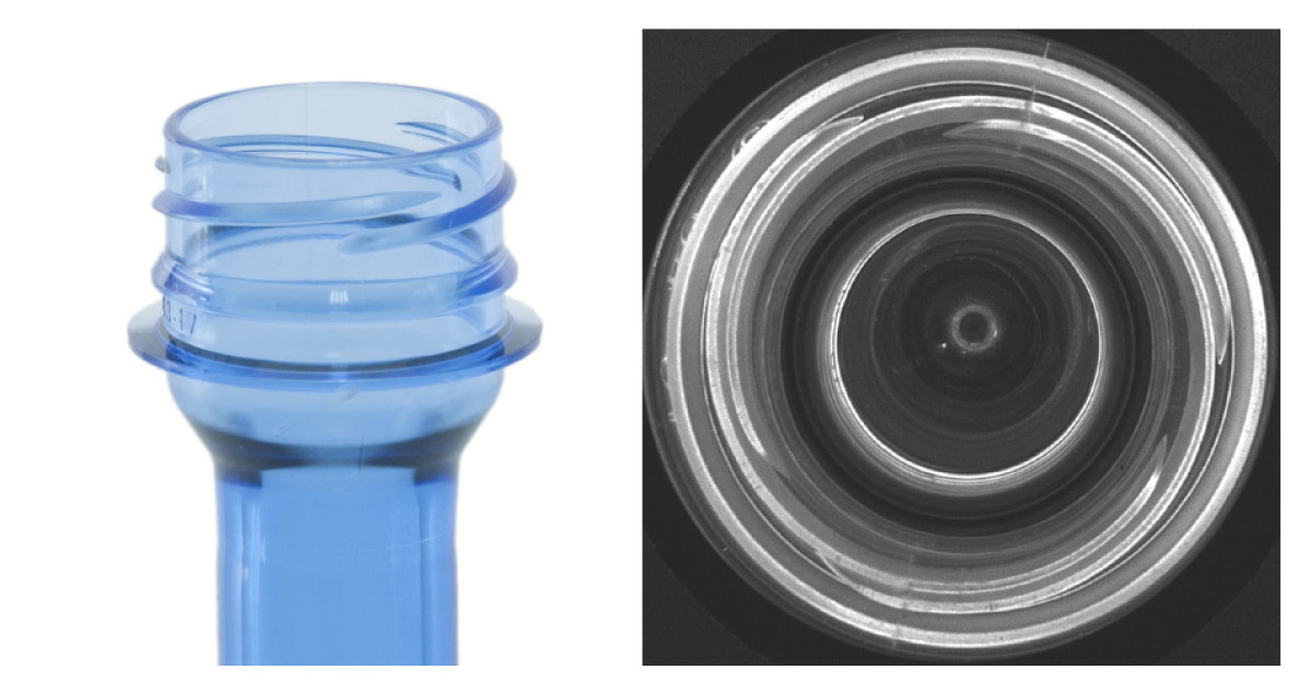 Examining the threads of a neck bottle with a PCCD catadioptric lens