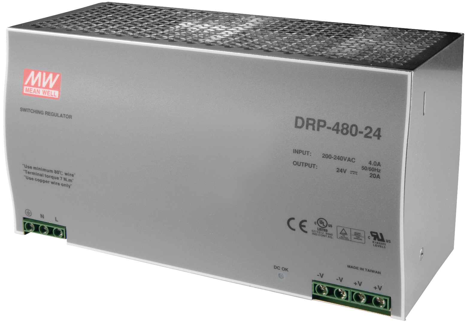 DIN rail power supply 240V ac - 24V dc 480 W