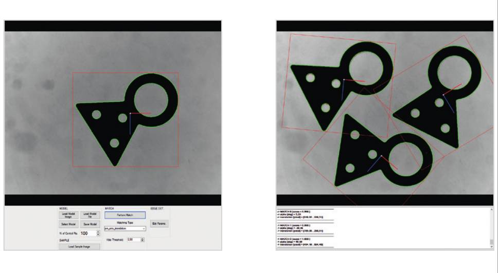 The pattern matching library can learn the model geometry and recognize the model position in the following images.