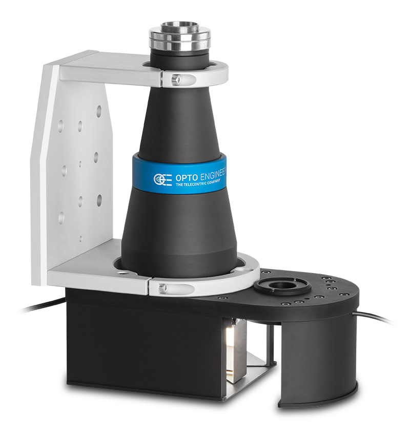 Bi-telecentric system for multiple side imaging and measurement at 90°