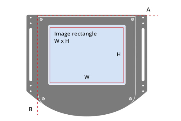 The width of the FOV (W) is aligned along the A axis. The heigth of the FOV (H) is aligned along the B axis.