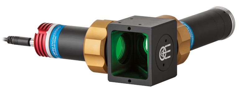"Telecentric assembly with coaxial illumination for 2/3"" detectors, magnification 0.75x, green"
