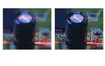 Without tilt adjustment, the object is not homogeneously focused. At the Scheimpflug angle, the image becomes sharp.
