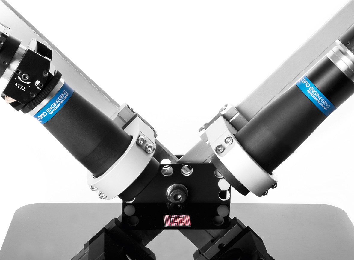 Scheimpflug telecentric optics for both projecting and imaging at 90°