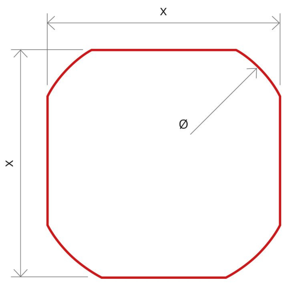 Minimum beam shape dimensions (Ø,x )