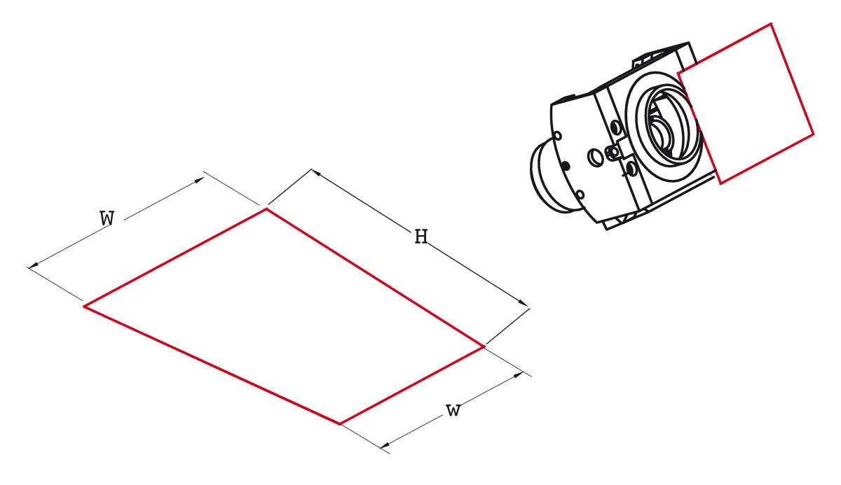 Field of View with detector's long side set horizontal<br>